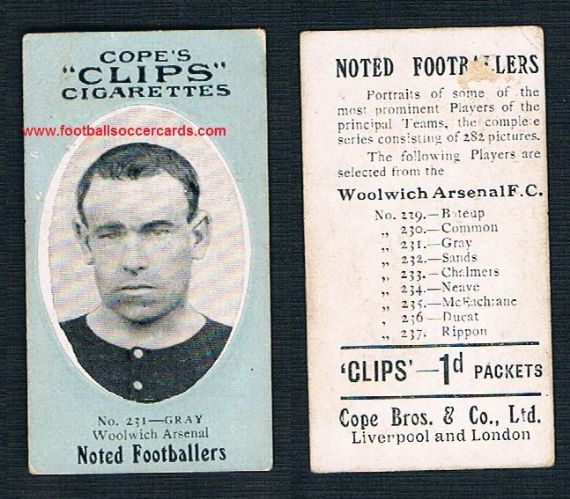 1910 Cope Brothers Noted Footballers 282 series Gray Woolwich Arsenal 231